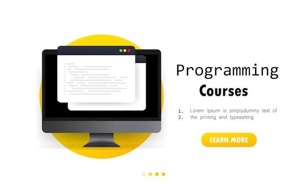 Иллюстрация курсов программирования. обучение программированию на компьютере. концепция курса киберобразования. изучение создания программного обеспечения. вектор на изолированном белом фоне. eps 10.