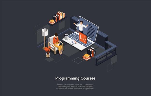 プログラミングコースオンライン教育、パーソナルトレーニング、インターネット技術研究の概念。ベクトル漫画スタイルのイラスト。テキスト、文字、インフォグラフィックを使用した3dアイソメトリックコンポジション。職業学ぶ。