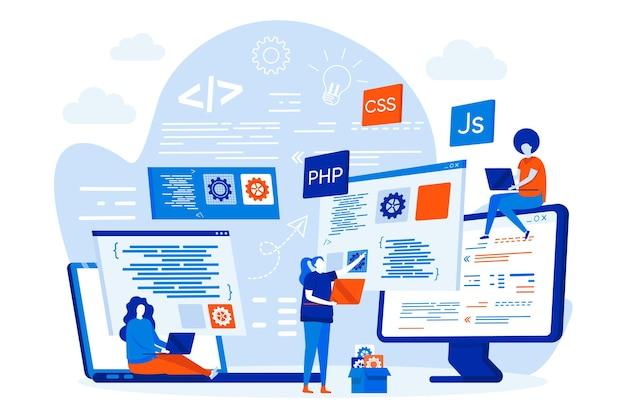 Концепция веб-дизайна курсов программирования с иллюстрацией персонажей людей