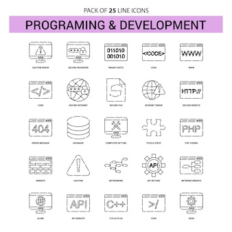 Programming and developement line icon set - 25 dashed outline style