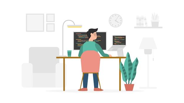 モダンなフラットスタイルとミニマリストの緑色をテーマにした、自宅からのプログラミング開発者の作業 Premiumベクター