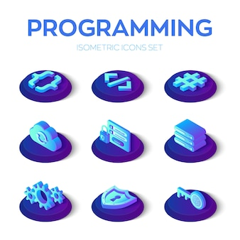 Programming and development icons set