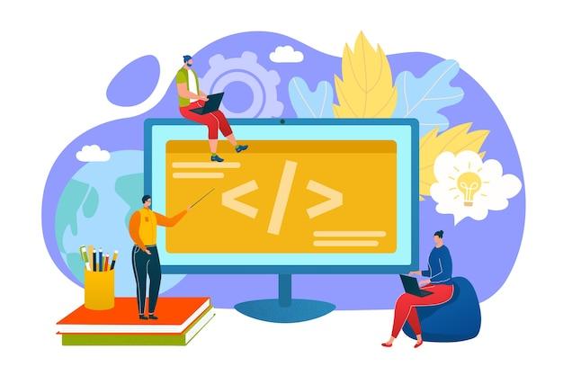 プログラミング教育の概念、プログラマーはコンピューターの図のコーディングを学ぶ。人々はプログラミング言語でコードやプログラムを食べています。オンラインのインターネット学習。現代の教育技術。