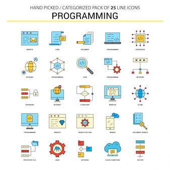 Programming Flat Line Icon Set