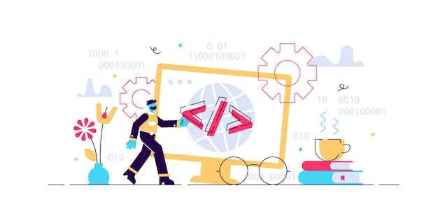 プログラミングのイラスト。 itコンピューターとフラットの小さな人の概念。アプリケーション、ソフトウェア、またはwebページのコーディングプロセス。タスクアルゴリズムソースおよび実行可能な設計とのインターフェイス開発。