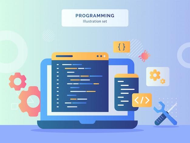 プログラミングイラストは、フラットスタイルのメカニックシンボルレンチドライバーギアバグのディスプレイモニターラップトップ背景にコーディング言語プログラムを設定します。
