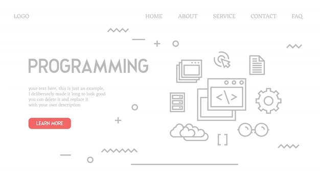 Programming landing page in doodle style