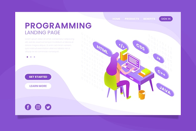 Programming landing page with coding