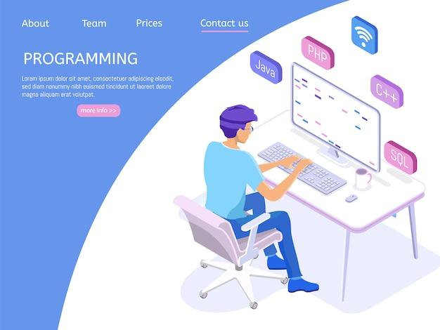Programming landing page withengineer at work.