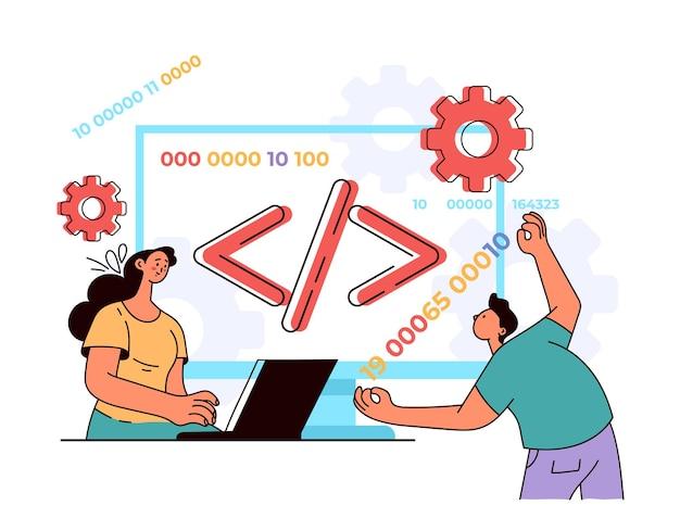プログラミング言語コーディングphp開発者ソフトウェアjavascriptコンセプトフラットモダンスタイルデザインイラスト