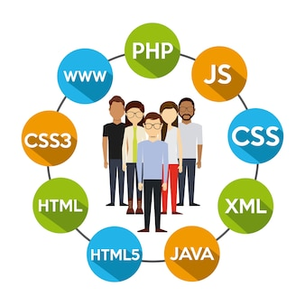 Programming language design, vector illustration eps10 graphic