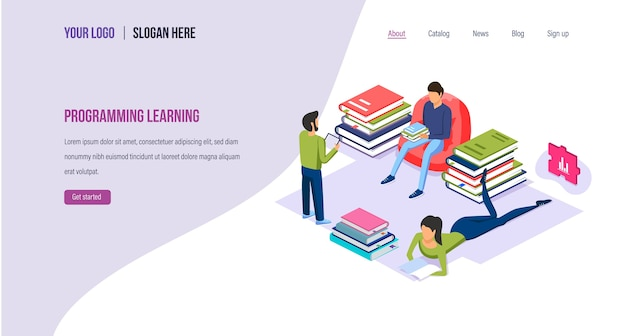 Programming learning high-level languages landing page template