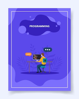 Programming man development software apps on computer