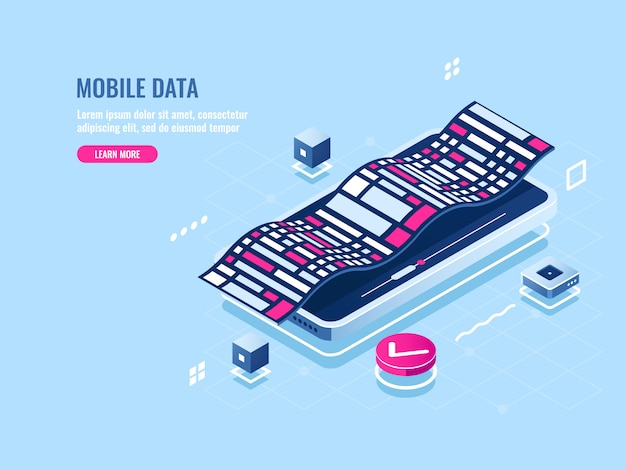 Programming mobile software isometric icon, development application of mobile phone