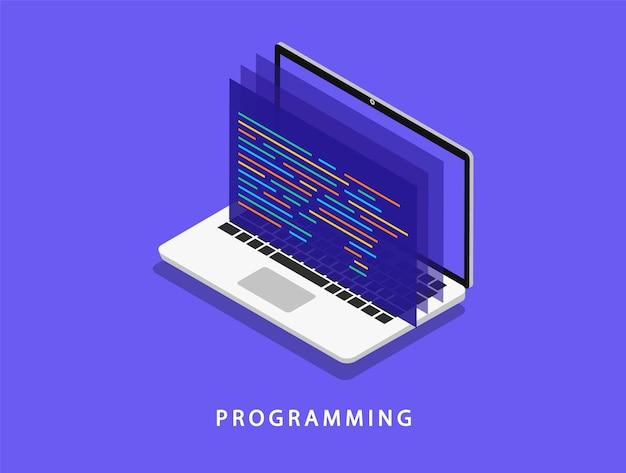 アイソメ図でのラップトップでのプログラミング。ソフトウェア開発。コーディング。