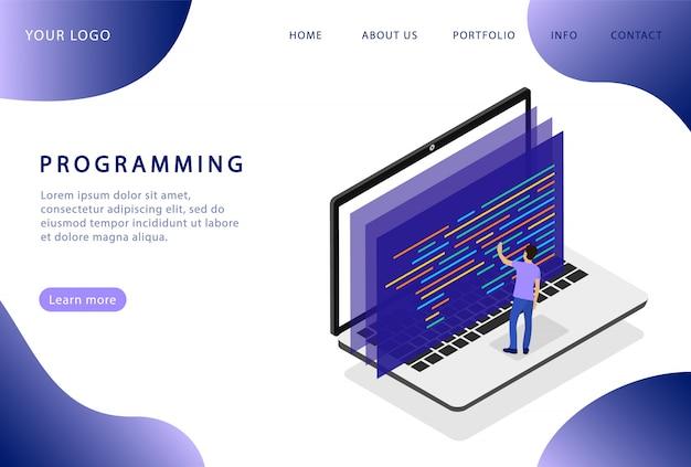 ラップトップでのプログラミング。ソフトウェア開発。ランディングページ。 webサイトの最新のwebページ。