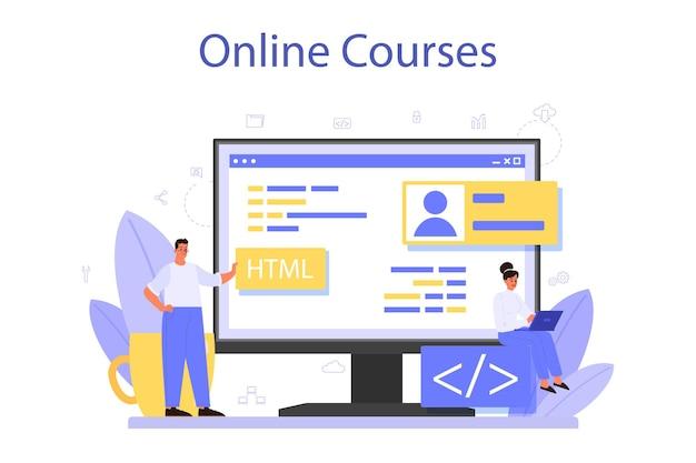 オンラインサービスまたはプラットフォームのプログラミング。コンピューターでの作業、コーディング、テスト、プログラムの作成のアイデア。オンラインコース。孤立したベクトル図