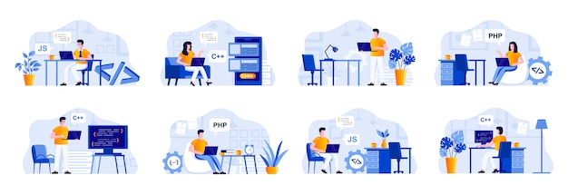 Programming scenes bundle with people characters. frontend and backend developers working with computers in office, software design and coding situations. programs development flat illustration