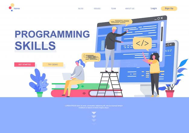 Programming skills flat landing page template. developers designing and constructing internet application situation. web page with people characters. software development illustration.