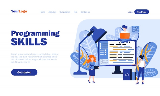 Programming skills vector landing page  with header
