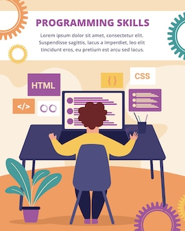 Programming skills vertical banner. development.