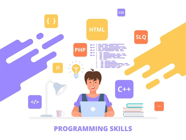 Programming skills working programmer, software development flat  illustration concept can use for web banner, infographics, hero images.
