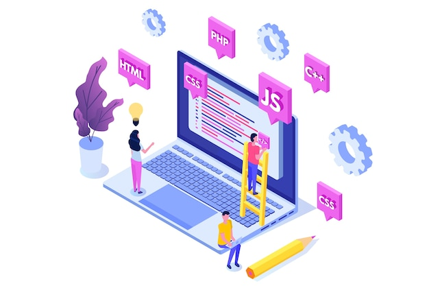 Programming software or app development isometric concept, big data processing. illustration