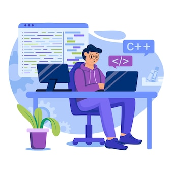 Programming software concept illustration with characters in flat design