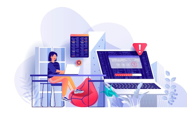 Programming software developer scene illustration of people characters in flat design concept
