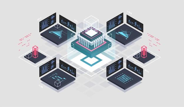 Programming and software development isometric illustration