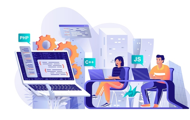 Programming software flat design concept illustration of people characters