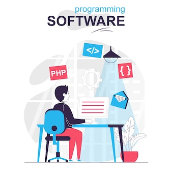 Programming software isolated cartoon concept developer programs in php language