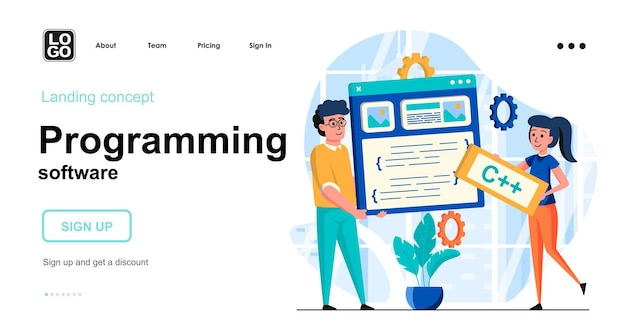 Programming software landing page template Premium Vector