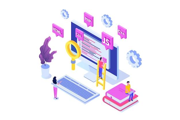 プログラミングソフトウェアまたはアプリ開発等尺性概念、ビッグデータ処理。図