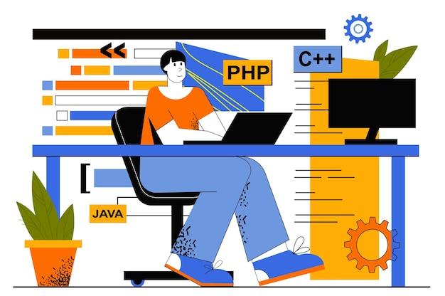 Веб-концепция программного обеспечения программирования. разработчик программирует на разных языках, создает приложения, кодирует, тестирует. человек работает в it индустрии.