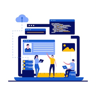 Programming and web design concept with character.