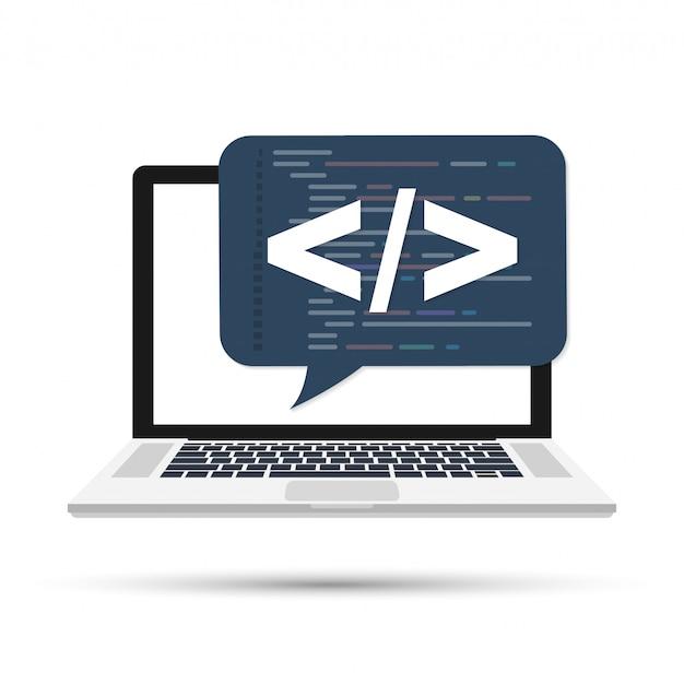 프로그래밍, 웹 개발 개념. 화면 랩톱의 코드