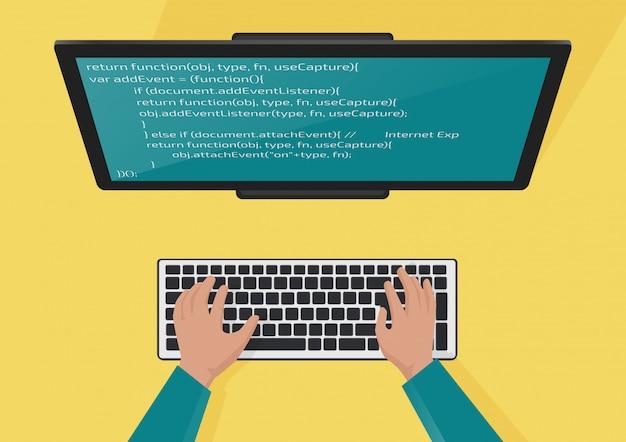 Программирование, концепция веб-разработки. руки программистов на клавиатуре. код на экране монитора. плоская иллюстрация.