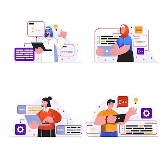 プログラミング作業コンセプトシーンは、さまざまな言語で人々のプログラムを設定し、コードテストを記述します