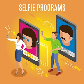 Programs and filters for selfie photo, isometric orange background with gadgets, persons making self portrait