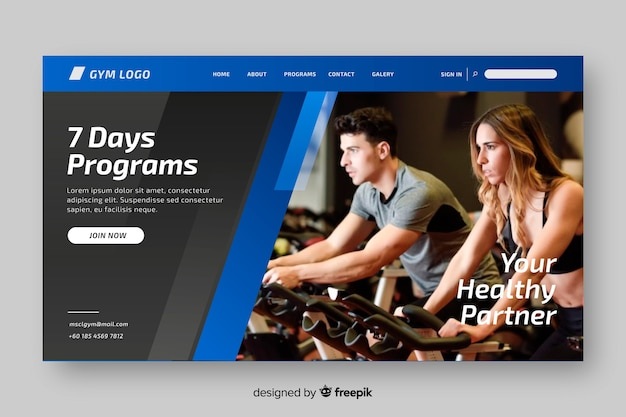 Programmi sport landing page con foto