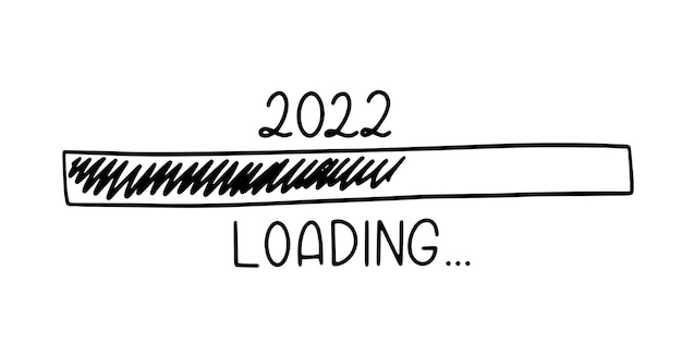 Progress bar in doodle sketch style. 2022 loading icon image. hand drawn vector illustration.