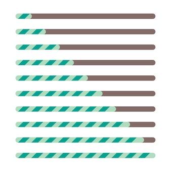Набор индикаторов выполнения загрузки, строка состояния, вектор, веб-индикатор, процесс загрузки, шаг за шагом
