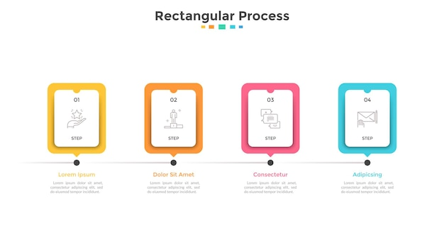 Progress bar or timeline with four paper white rectangular elements or cards arranged in horizontal row. concept of 4 stages of project development. infographic design template. vector illustration