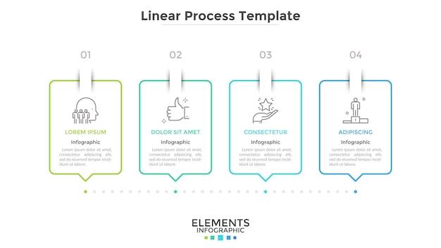 Полоса прогресса с 4-мя прямоугольными элементами, соединенными пунктирной линией. концепция четырех шагов стратегического бизнес-планирования. творческий инфографический шаблон дизайна. векторная иллюстрация для презентации.