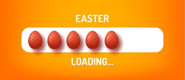 Индикатор выполнения с надписью - пасхальная загрузка и оформленное яйцо в реалистичном стиле.
