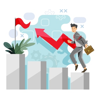 進行状況の概念。利益と余剰。成功と収入。ベクトルとイラスト。