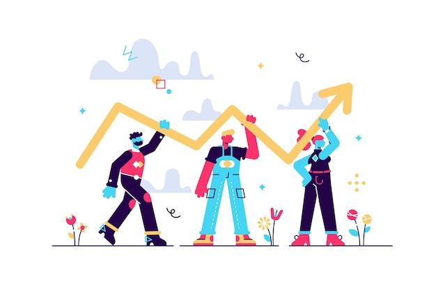 성공 개선 및 성장 작은 사람 개념으로 진행 개발. 이익, 판매 또는 경력이 증가함에 따라 증가하고 위쪽을 향한 화살표가있는 전문 팀워크 장면.