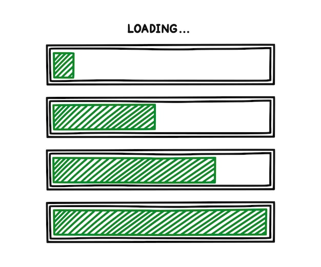 Progress loading bar infographics design element with green status of completion