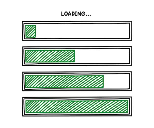 녹색 완료 상태가 있는 진행 로드 막대 인포 그래픽 디자인 요소